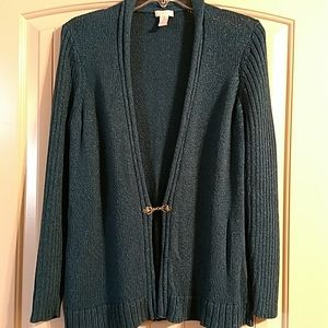 Chico's open front cardigan metal clasp size 1